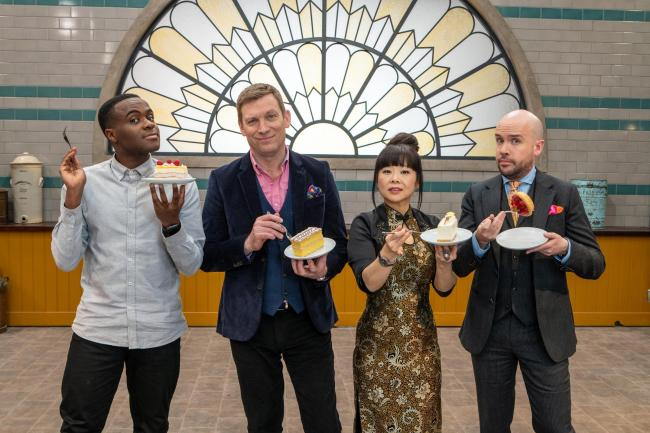Judges Cherish Finden and Benoit Blin with presenters Liam Charles and Tom Allen