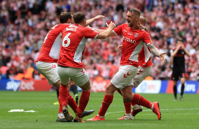 Patrick Bauer celebrates his winning goal for Charlton at Wembley