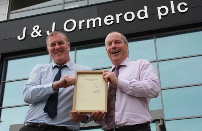 JJO Health, Safety and Environmental Manager James Casey and Joint Managing Director Stephen Greenhalgh with the company's Authorised Economic Operator, AEO, certification
